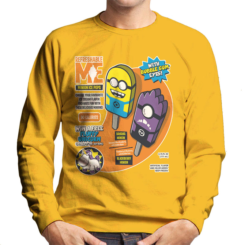 Refreshable Minion Ice Pops Men's Sweatshirt by Olipop - Cloud City 7