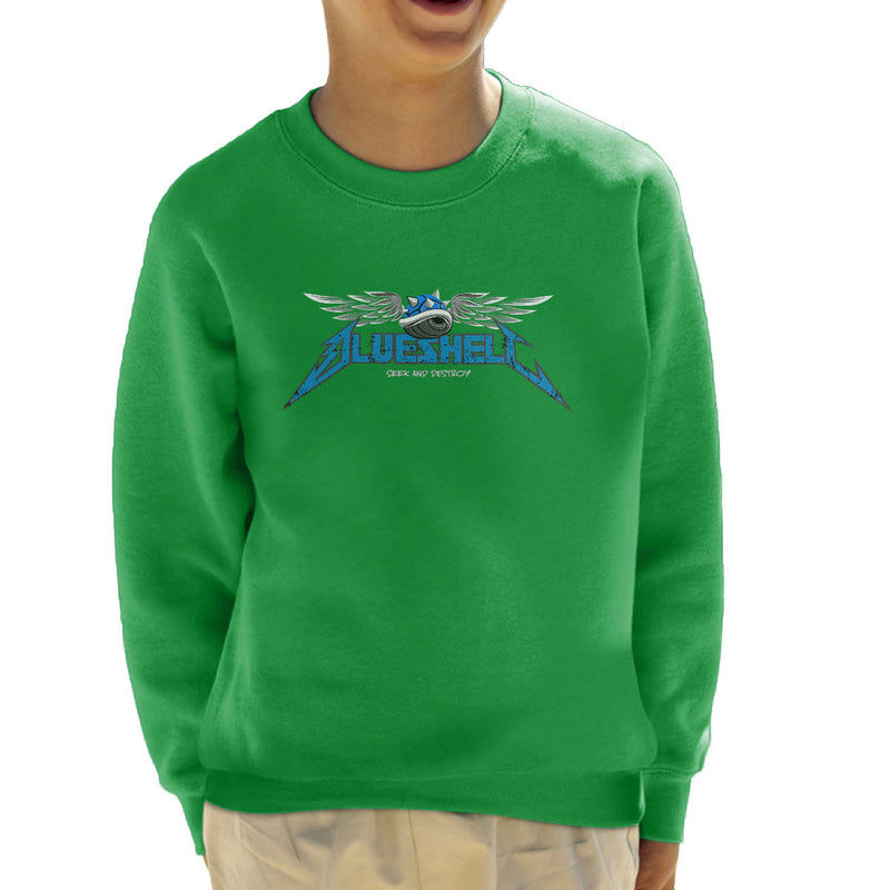 Mario Kart Blue Shell Seek And Destroy Kid's Sweatshirt by Samiel Art - Cloud City 7