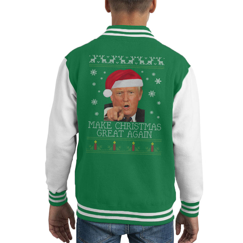 Make Christmas Great Again Donald Trump Knit Pattern Kid's Varsity Jacket by Spudhead - Cloud City 7