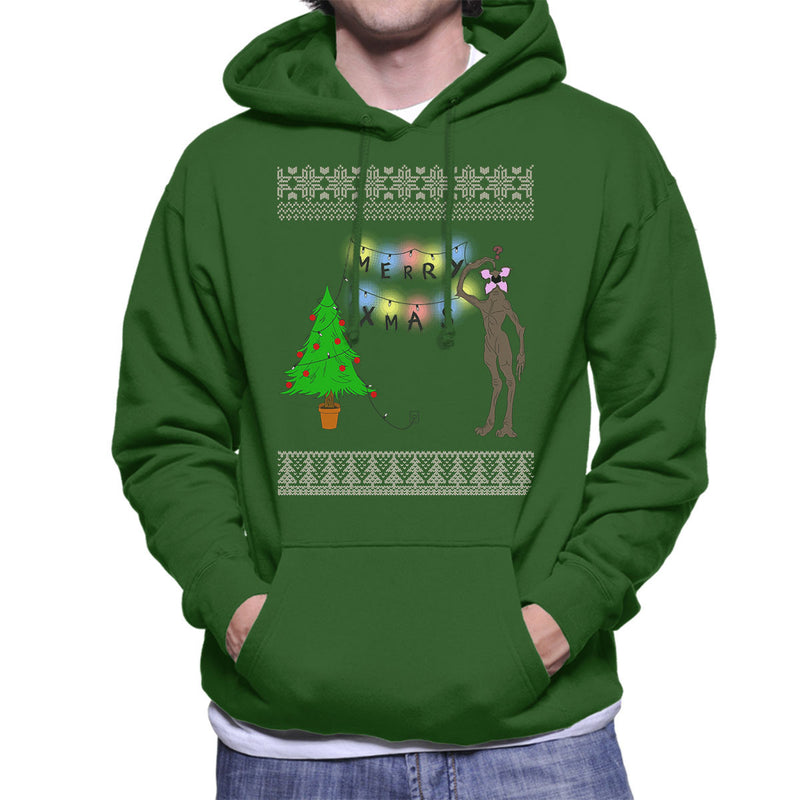 Stranger Things Demogorgon Christmas Knit Pattern Men's Hooded Sweatshirt by Bevatron - Cloud City 7