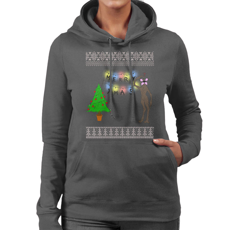 Stranger Things Demogorgon Christmas Knit Pattern Women's Hooded Sweatshirt by Bevatron - Cloud City 7
