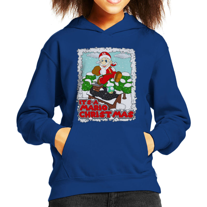 Its A Mario Chirstmas Super Santa Kid's Hooded Sweatshirt by Bevatron - Cloud City 7