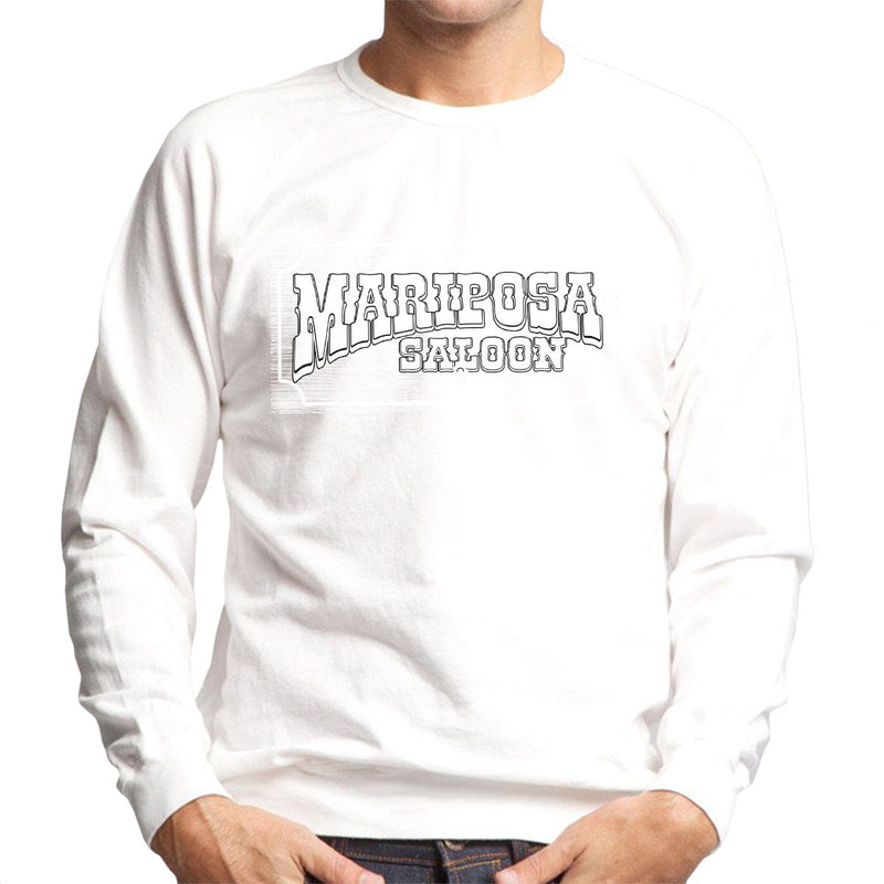 Mariposa Saloon Sweetwater Westworld White Men's Sweatshirt by Bevatron - Cloud City 7