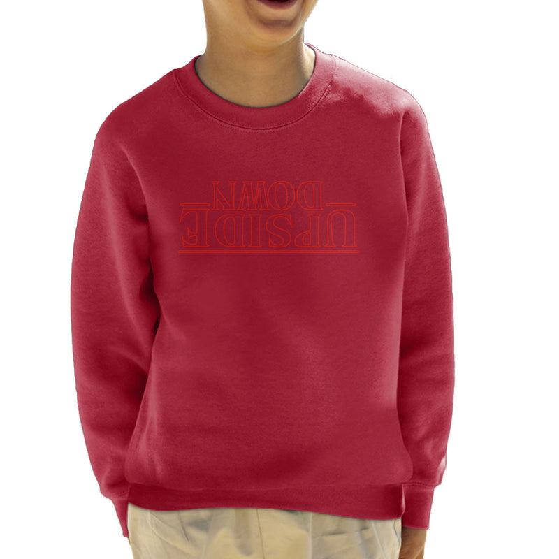 Stranger Things Upside Down Text Kid's Sweatshirt by Bevatron - Cloud City 7
