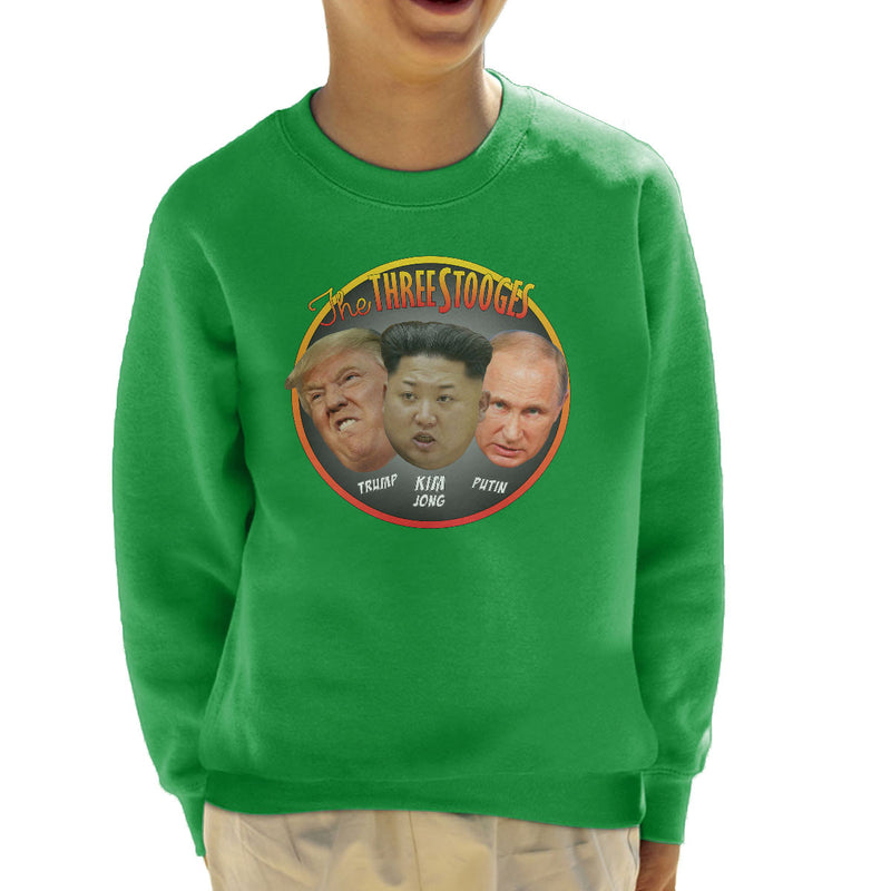 The Three Stooges Trump Kim Jong Putin Kid's Sweatshirt by Pheasant Omelette - Cloud City 7
