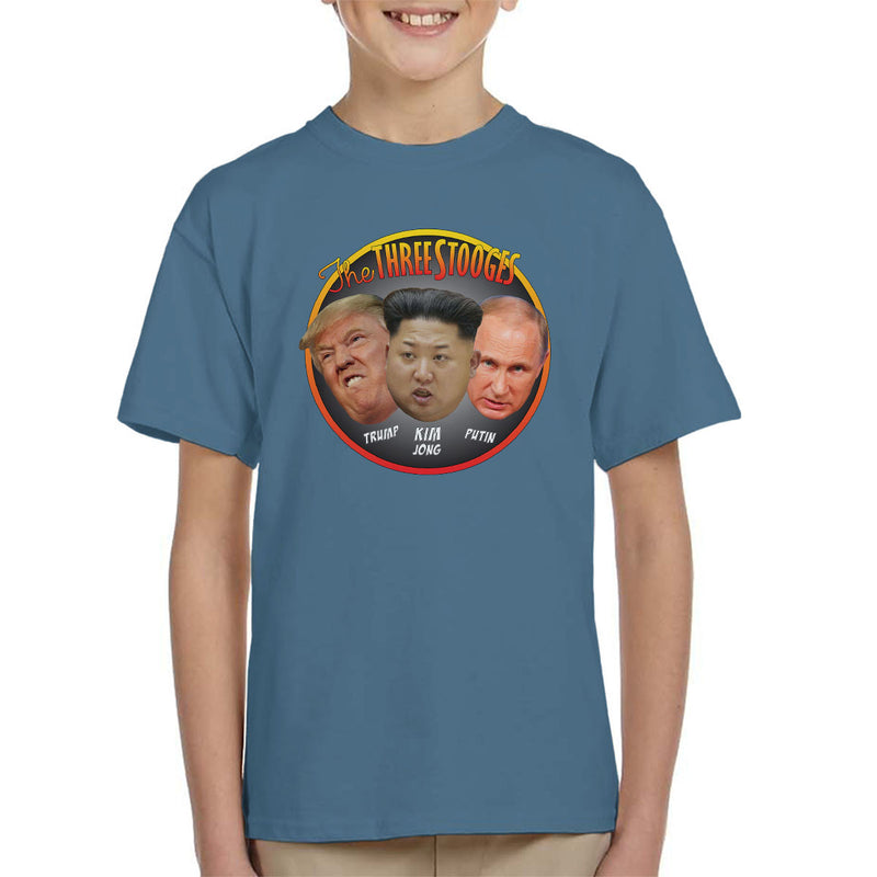 The Three Stooges Trump Kim Jong Putin Kid's T-Shirt by Pheasant Omelette - Cloud City 7