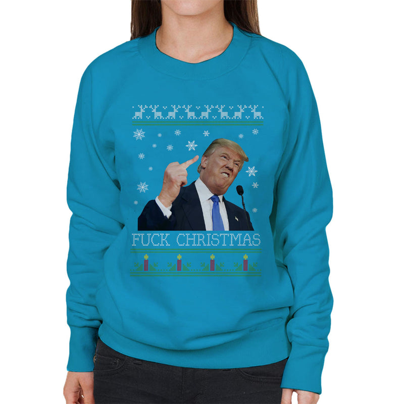 Donald Trump Fuck Christmas Knit Women's Sweatshirt by Pheasant Omelette - Cloud City 7