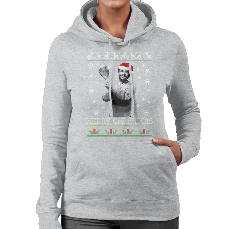 Mahmoud Ahmadinejad Merry Christmas Knit Women's Hooded Sweatshirt by Pheasant Omelette - Cloud City 7