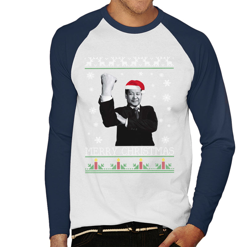 Xi Jinping Chinese President Merry Christmas Knit Men's Baseball Long Sleeved T-Shirt by Pheasant Omelette - Cloud City 7