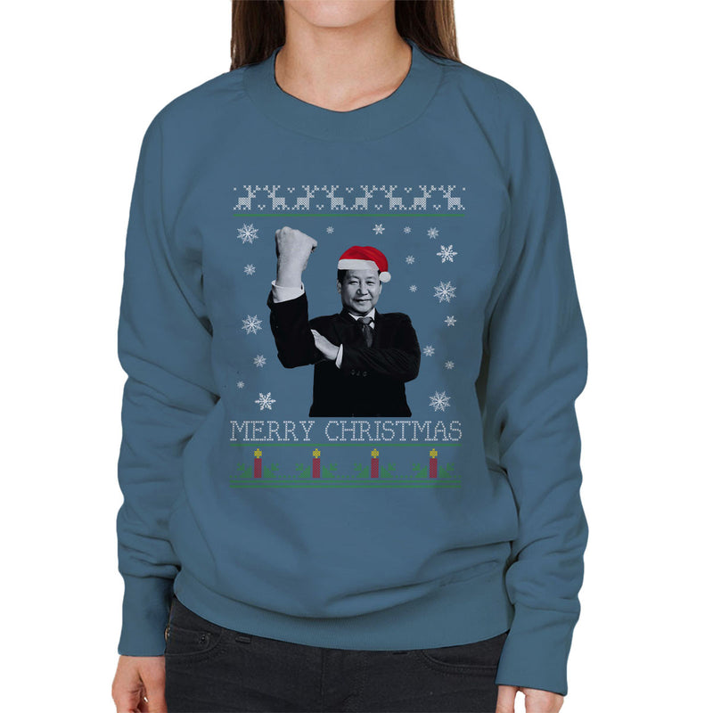 Xi Jinping Chinese President Merry Christmas Knit Women's Sweatshirt by Pheasant Omelette - Cloud City 7