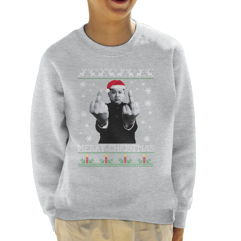 Kim Jong Un Merry Christmas Knit Kid's Sweatshirt by Pheasant Omelette - Cloud City 7