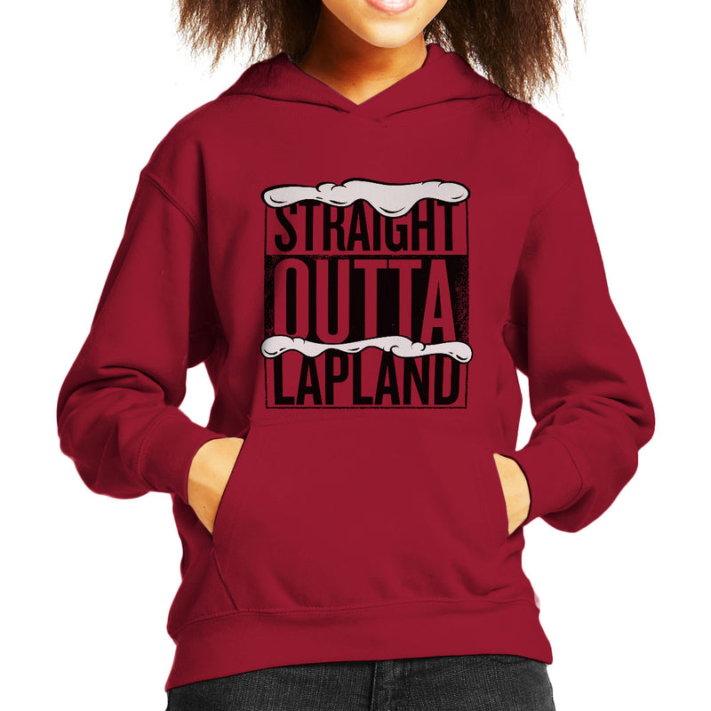 Straight Outta Lapland Christmas Kid's Hooded Sweatshirt by Spudhead - Cloud City 7