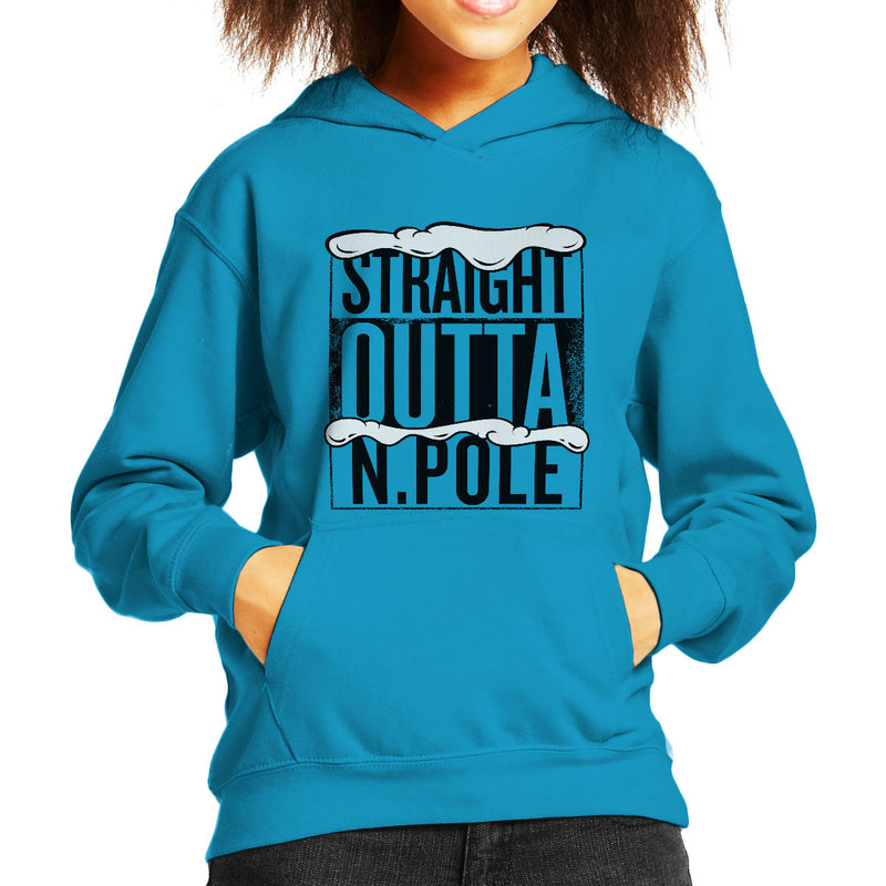 Straight Outta North Pole Christmas Kid's Hooded Sweatshirt by Spudhead - Cloud City 7