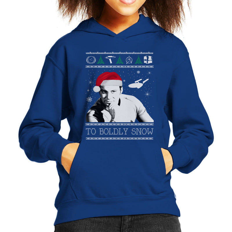 Star Trek To Boldly Snow Kirk Christmas Kid's Hooded Sweatshirt by Spudhead - Cloud City 7