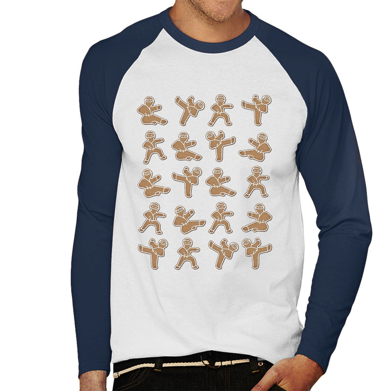 Gingerbread Man Ninjas Christmas Men's Baseball Long Sleeved T-Shirt by Spudhead - Cloud City 7