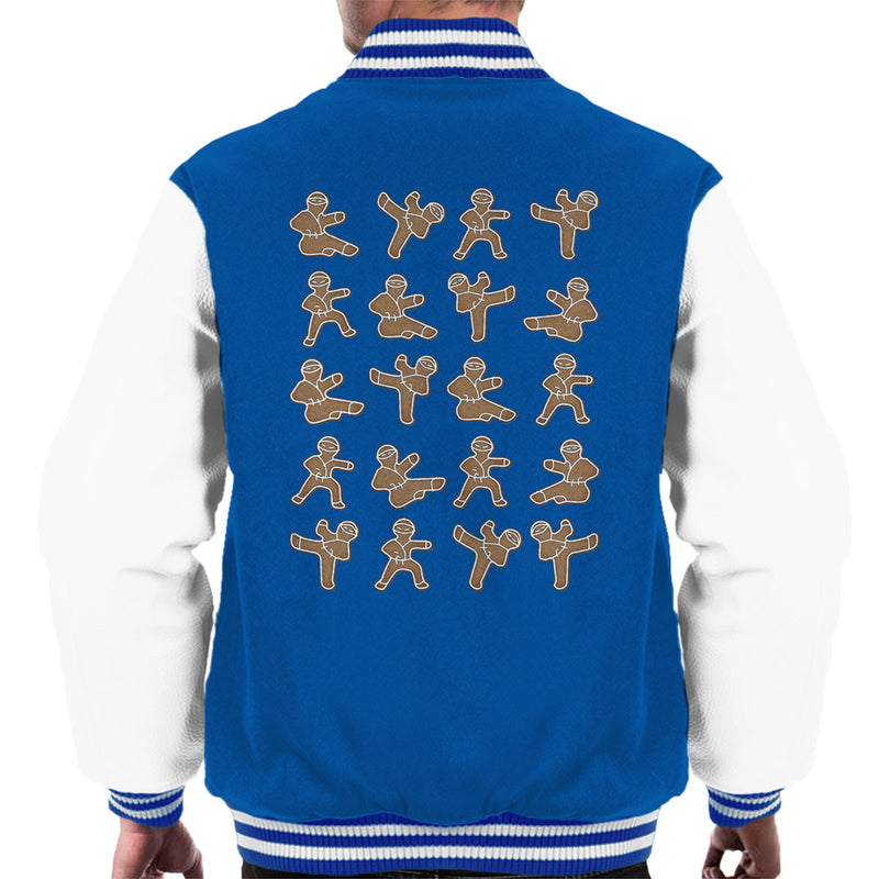 Gingerbread Man Ninjas Christmas Men's Varsity Jacket by Spudhead - Cloud City 7