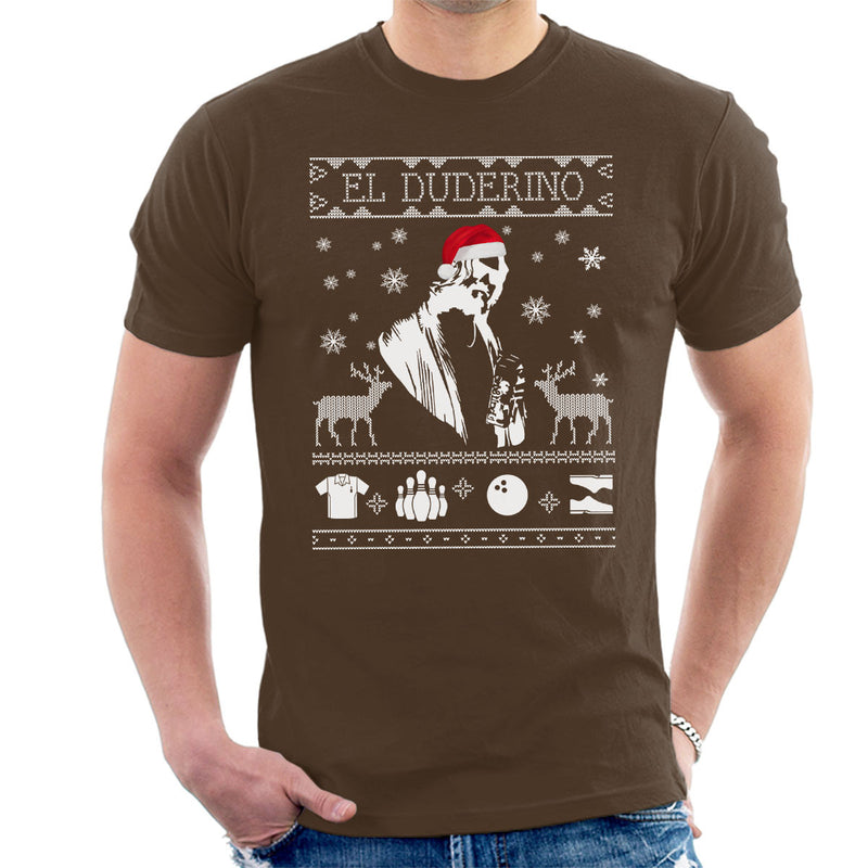 Big Lebowski El Duderino Christmas Knit Men's T-Shirt by Spudhead - Cloud City 7