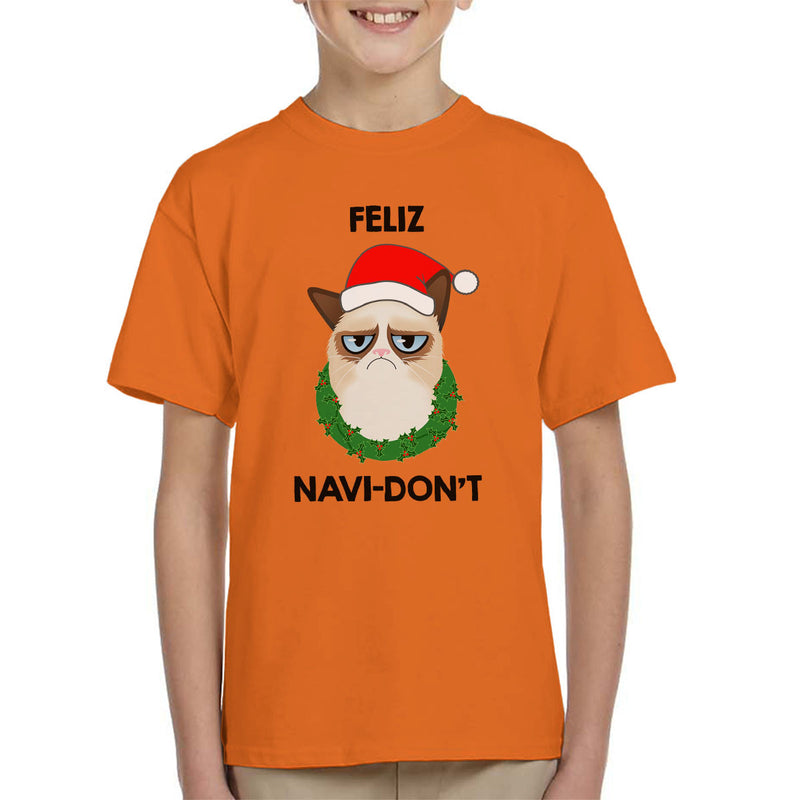Feliz Navi-Don't Christmas Cat Black Kid's T-Shirt by Hilarious Delusions - Cloud City 7