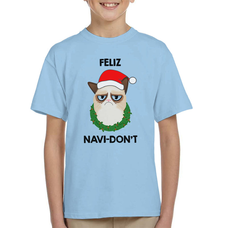 Feliz Navi-Don't Christmas Cat Black Kid's T-Shirt