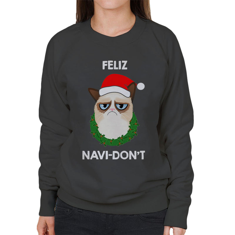 Feliz Navi-Don't Christmas Cat White Women's Sweatshirt by Hilarious Delusions - Cloud City 7