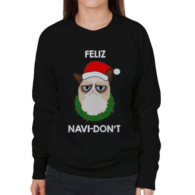 Feliz Navi-Don't Christmas Cat White Women's Sweatshirt