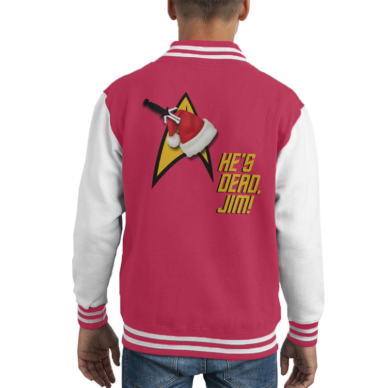 He's Dead, Jim! Star Trek Christmas Hat Kid's Varsity Jacket by Hilarious Delusions - Cloud City 7