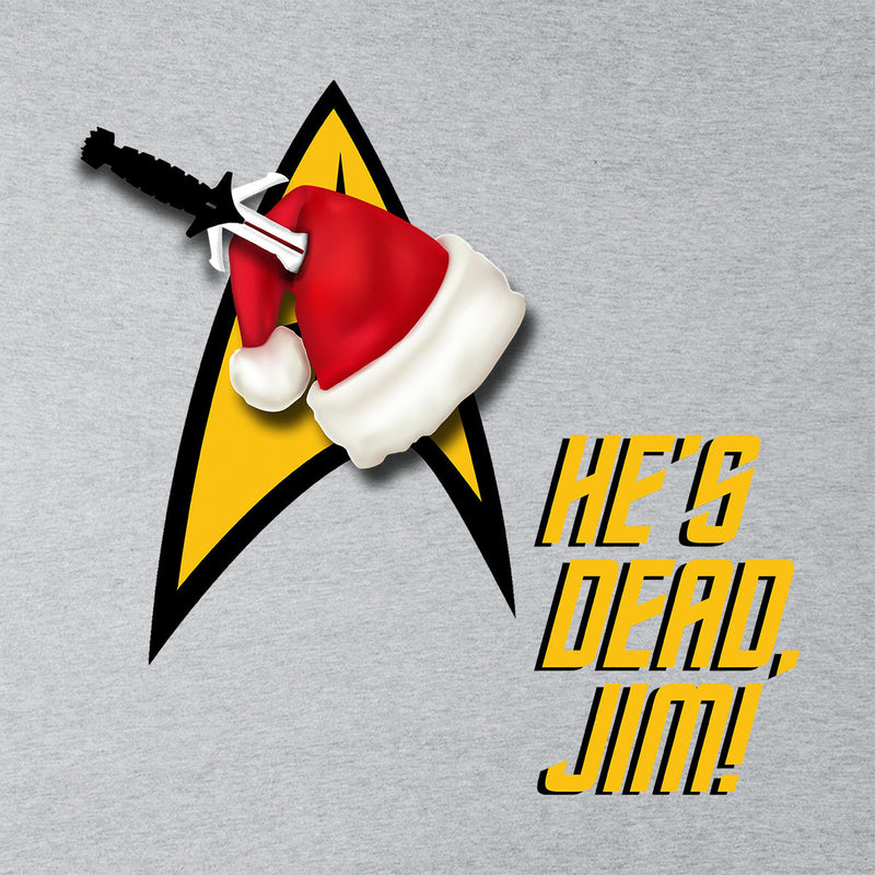 He's Dead, Jim! Star Trek Christmas Hat Men's Baseball Long Sleeved T-Shirt by Hilarious Delusions - Cloud City 7