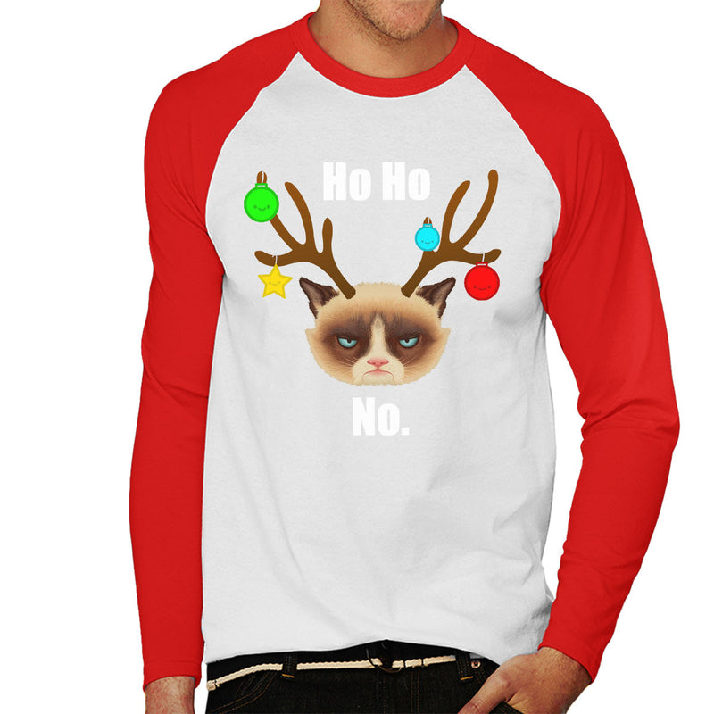 Ho Ho No Christmas Cat White Men's Baseball Long Sleeved T-Shirt by Hilarious Delusions - Cloud City 7