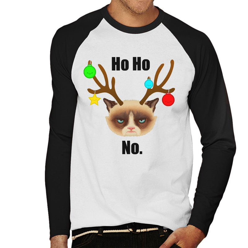 Ho Ho No Christmas Cat Black Men's Baseball Long Sleeved T-Shirt