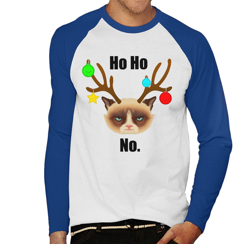 Ho Ho No Christmas Cat Black Men's Baseball Long Sleeved T-Shirt by Hilarious Delusions - Cloud City 7