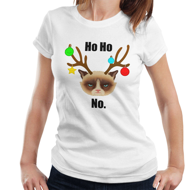Ho Ho No Christmas Cat Black Women's T-Shirt by Hilarious Delusions - Cloud City 7