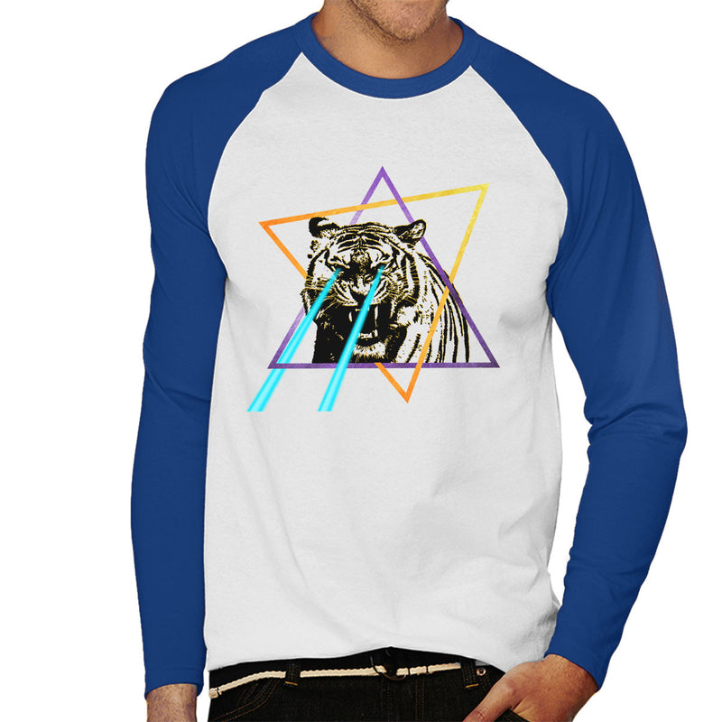 Laser Tiger Star Men's Baseball Long Sleeved T-Shirt by Hilarious Delusions - Cloud City 7