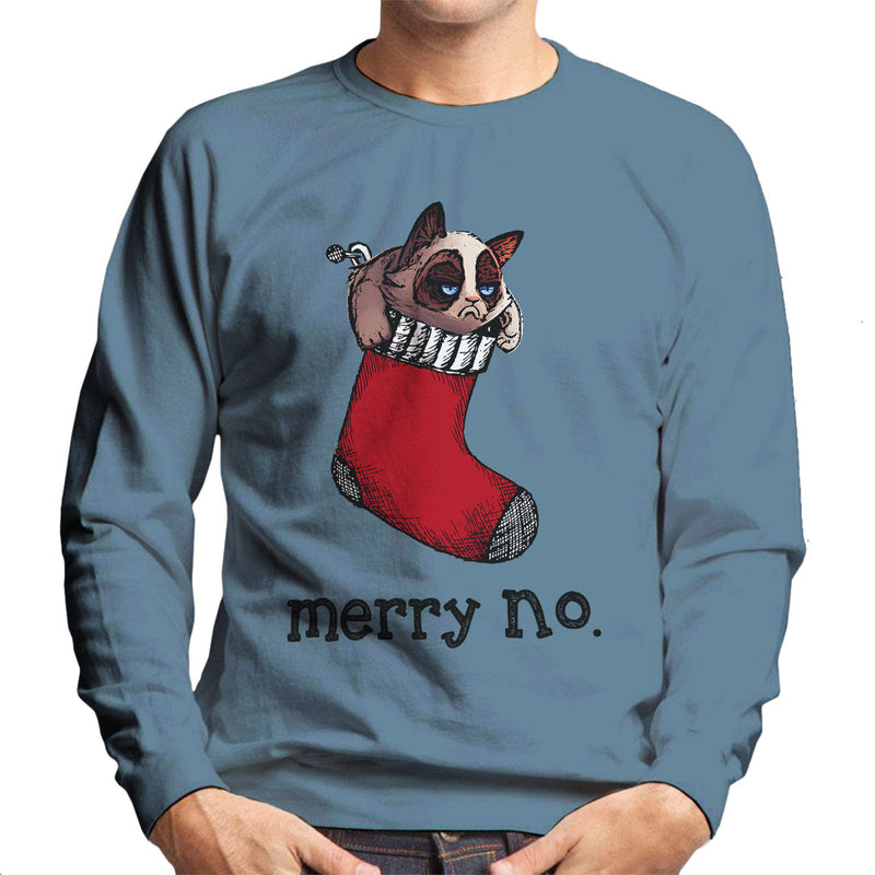 Merry No Stocking Christmas Cat Black Men's Sweatshirt by Hilarious Delusions - Cloud City 7