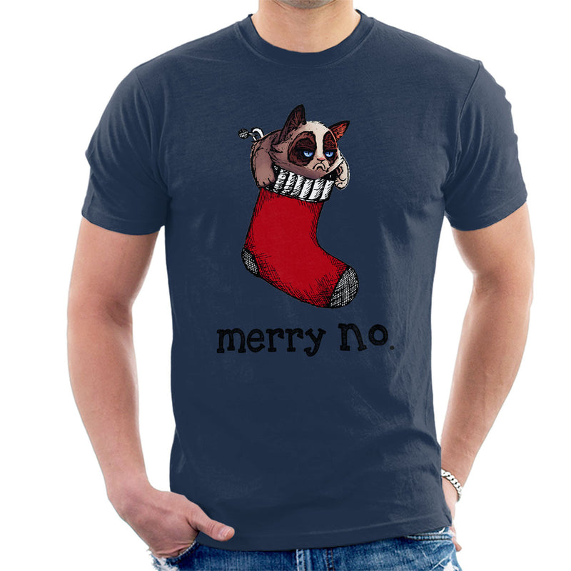 Merry No Stocking Christmas Cat Black Men's T-Shirt by Hilarious Delusions - Cloud City 7