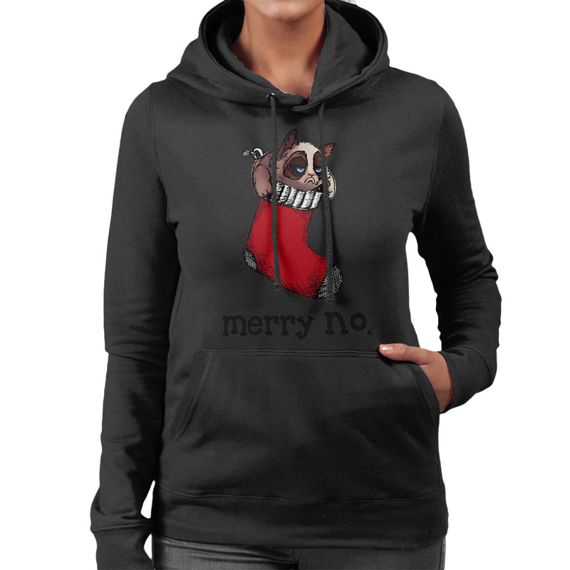 Merry No Stocking Christmas Cat Black Women's Hooded Sweatshirt by Hilarious Delusions - Cloud City 7