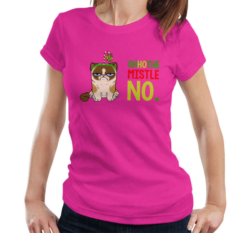 Oh Ho The Mistle No Christmas Cat Women's T-Shirt by Hilarious Delusions - Cloud City 7
