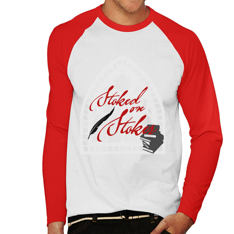 Stoked On Stoker Red Men's Baseball Long Sleeved T-Shirt by Hilarious Delusions - Cloud City 7