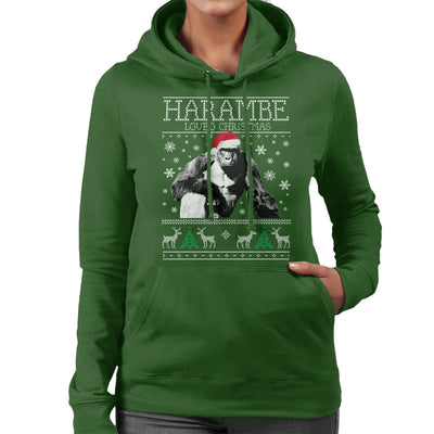 harambe loved christmas knit womens hooded sweatshirt