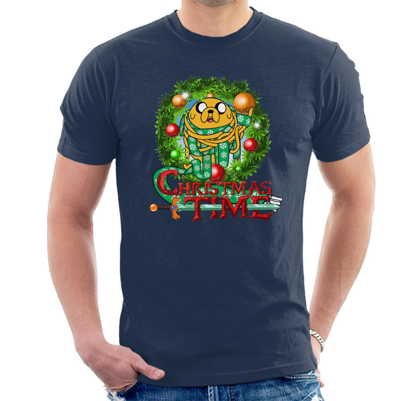 Adventure Christmas Time Wreath Jake Scarf Cartoon Network Men's T-Shirt