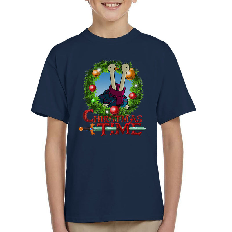 Adventure Christmas Time Wreath Two Headed Duck Cartoon Network Kid's T-Shirt