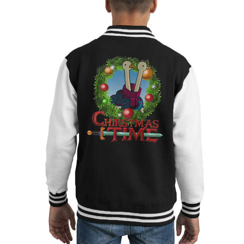 Adventure Christmas Time Wreath Two Headed Duck Cartoon Network Kid's Varsity Jacket by MacXi - Cloud City 7