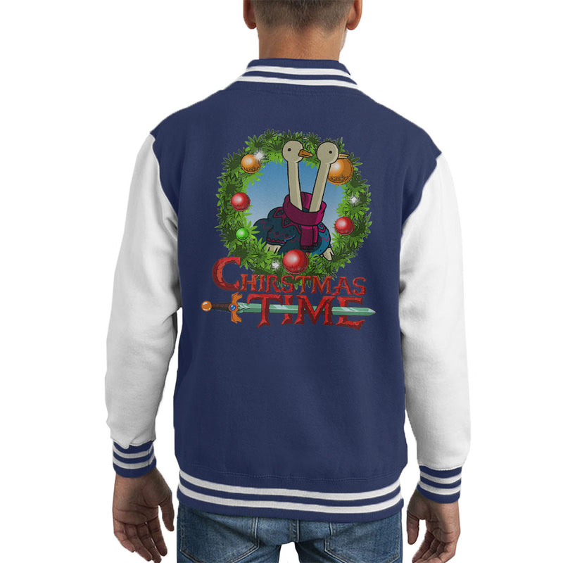 Adventure Christmas Time Wreath Two Headed Duck Cartoon Network Kid's Varsity Jacket