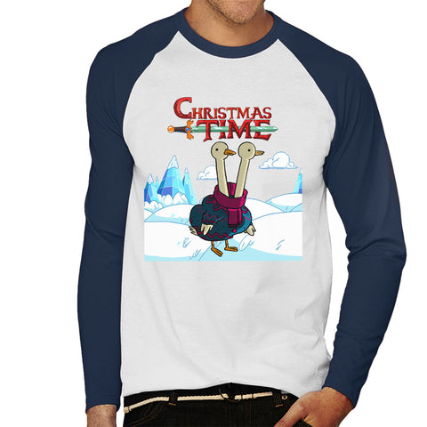 Adventure Christmas Time Two Headed Duck Ice World Cartoon Network Men's Baseball Long Sleeved T-Shirt