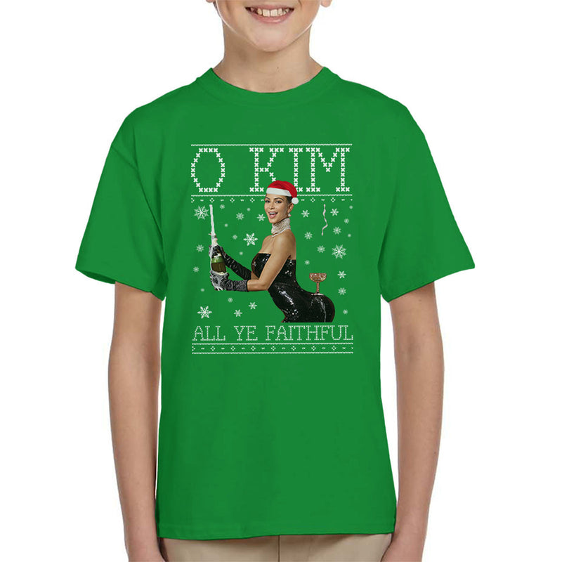 O Kim All Ye Faithful Kardashian Christmas Knit Kid's T-Shirt by Punksthetic - Cloud City 7