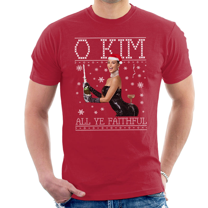 O Kim All Ye Faithful Kardashian Christmas Knit Men's T-Shirt