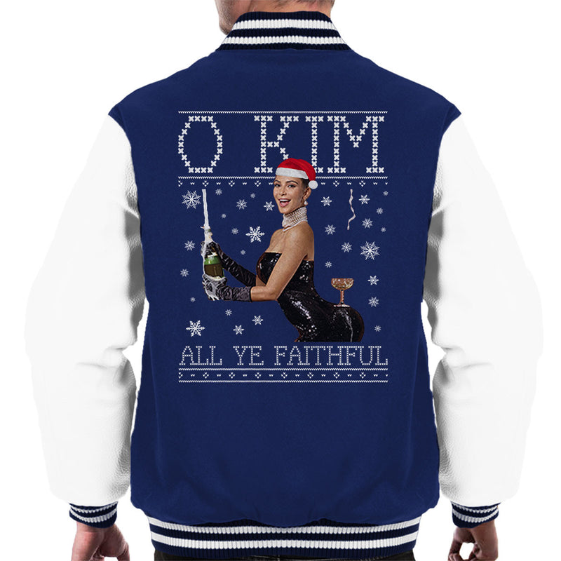 O Kim All Ye Faithful Kardashian Christmas Knit Men's Varsity Jacket