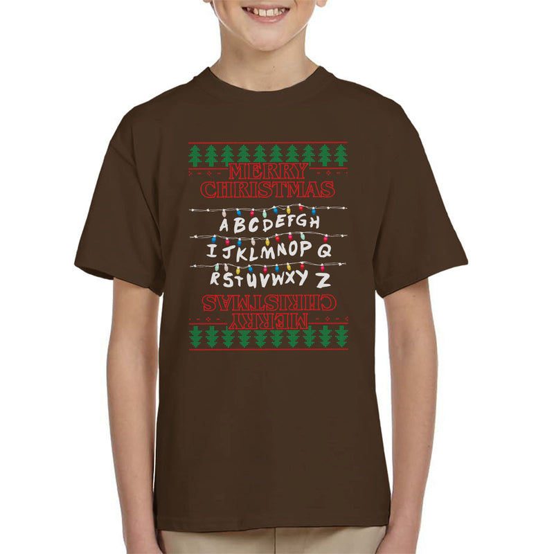 Stranger Things Merry Christmas Lights Knit Kid's T-Shirt by Punksthetic - Cloud City 7