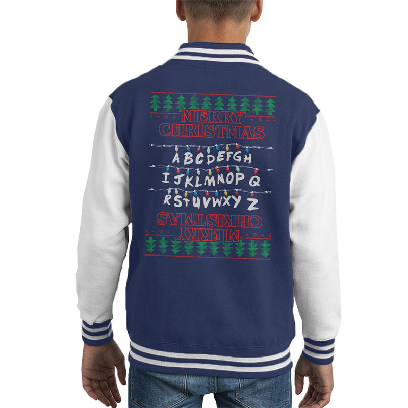 Stranger Things Merry Christmas Lights Knit Kid's Varsity Jacket by Punksthetic - Cloud City 7