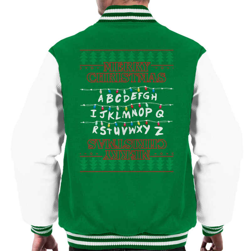 Stranger Things Merry Christmas Lights Knit Men's Varsity Jacket by Punksthetic - Cloud City 7