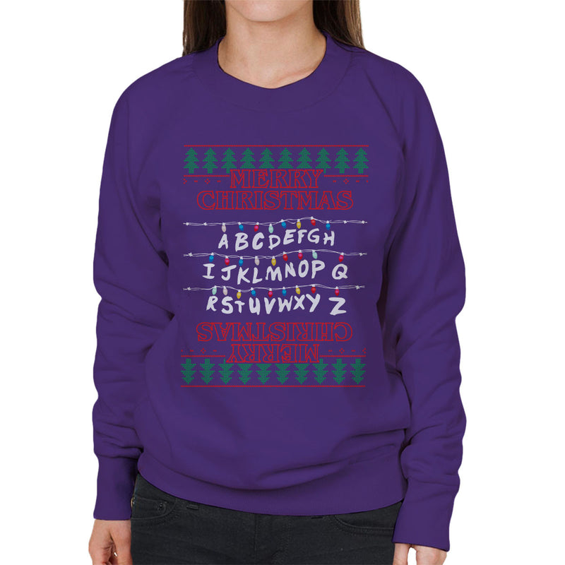 Stranger Things Merry Christmas Lights Knit Women's Sweatshirt by Punksthetic - Cloud City 7